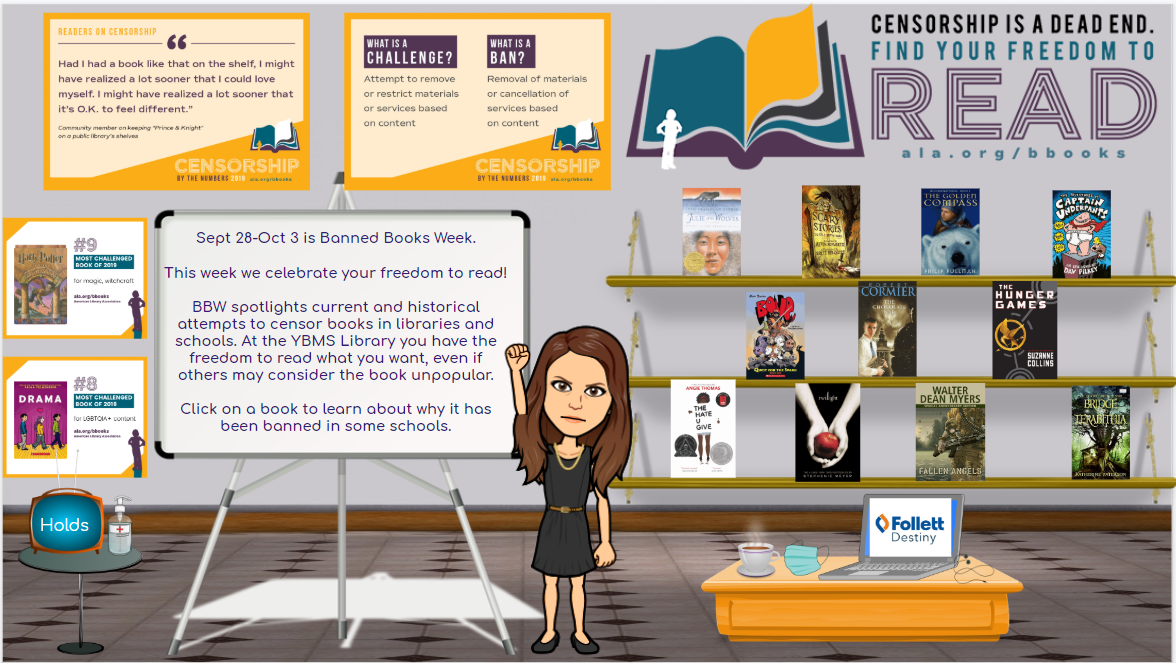 Middle School Librarian Creates Banned Books Week Bitmoji Library