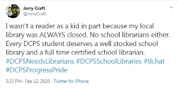 Jerry Craft tweets support to DCPS librarians